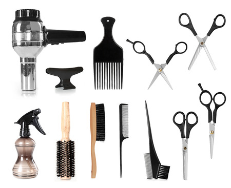 hair product: collection of hair styling salon tools isolated on white background