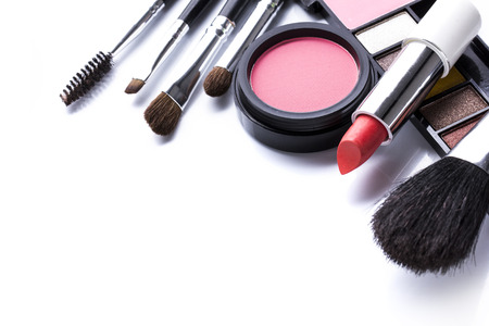 feminine beauty: Decorative cosmetics isolated over white background. make up supplies