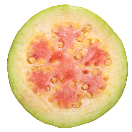close up of guava fruit slice isolated white background