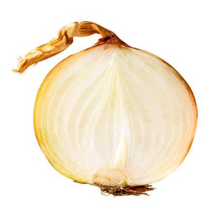 onion peel: Fresh bulbs of onion slice on a white background Stock Photo