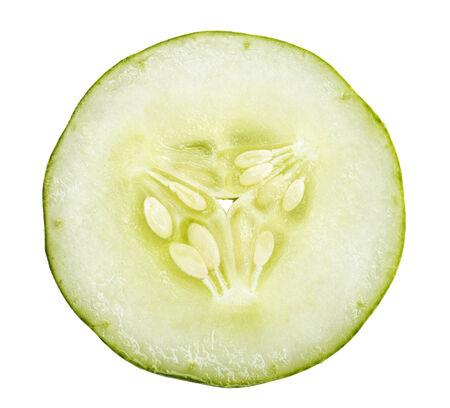 cucumber slice: close up of cucumber slice isolated white background