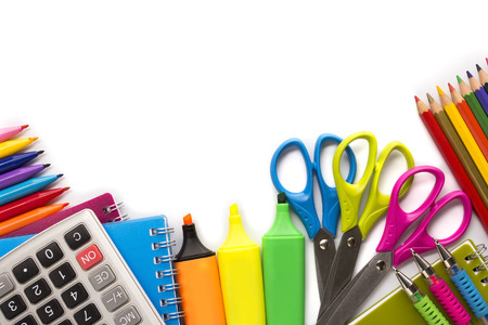 primary colours: School supplies on white background ready for your design Stock Photo