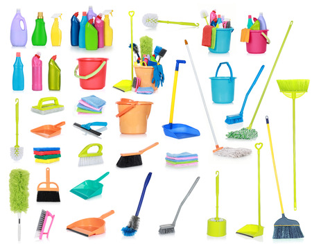 cleaning tools: set of Cleaning supplies isolated on white background