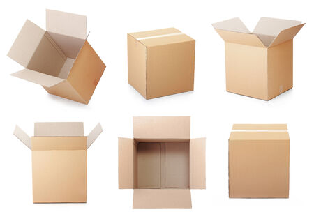 set of cardboard box isolated on a white background Banco de Imagens