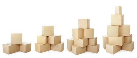box big: piles of cardboard boxes on a white background Stock Photo