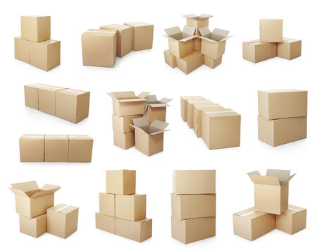 box big: set of piles of cardboard boxes on a white background Stock Photo