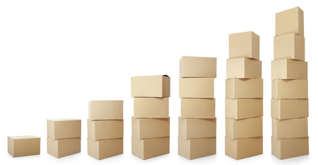 box big: set piles of cardboard boxes on a white background