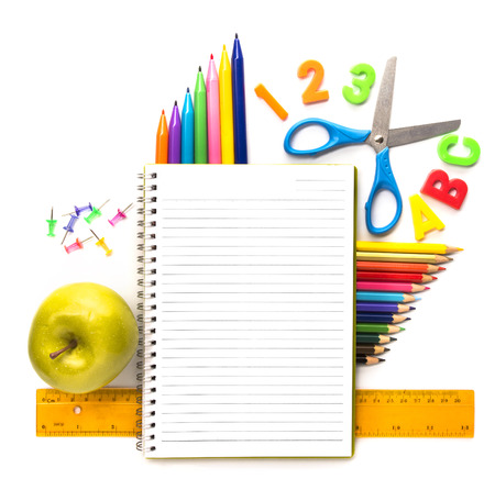 school things: Notebook with stationary objects supplies