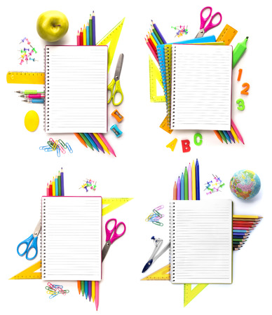 set of Notebook with stationary objects supplies in the background photo