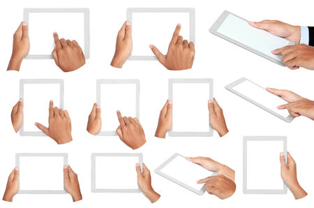 set photo of a tablet held by hands isolated on white background photo