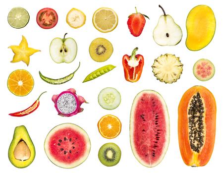 set of fruit and vegetable sliced isolated white background photo