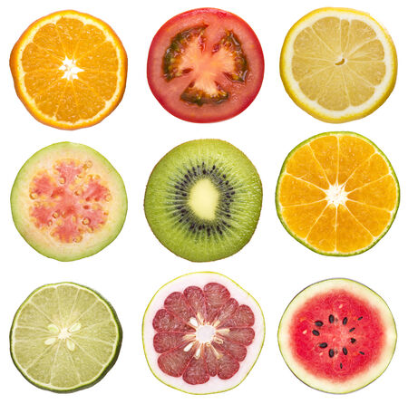 set of sliced fruit isolated white background photo