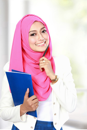 portrait of attractive young female asian student Stock Photo