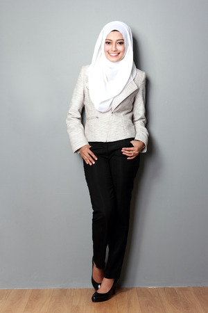 malay ethnicity: portrait of attractive asian businesswoman with scarf