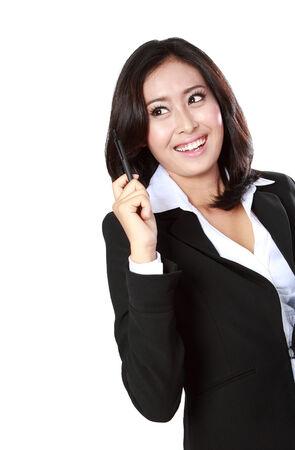 got: Portrait of businesswoman got idea isolated on white background Stock Photo