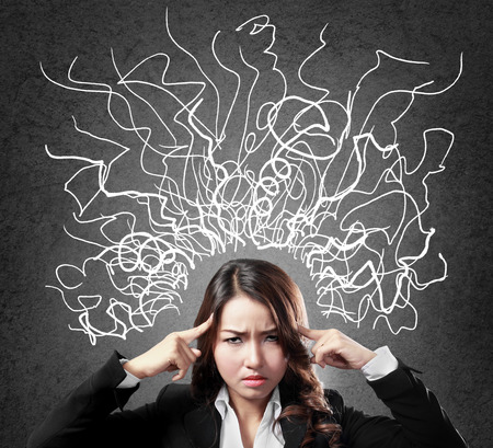 so: Closeup portrait of young business woman stressed having so many thoughts Stock Photo