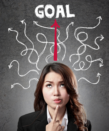 headaches: business woman concentration finding the way to reach goal