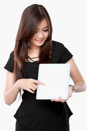 blank tablet: asian businesswoman showing blank screen tablet