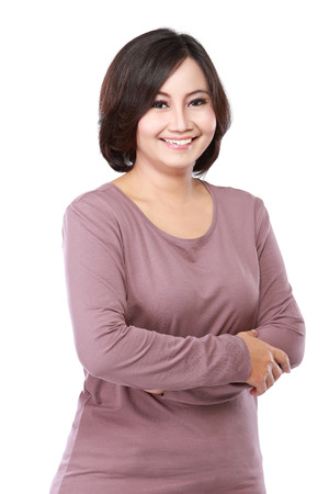 portrait casual middle aged woman cross her arms