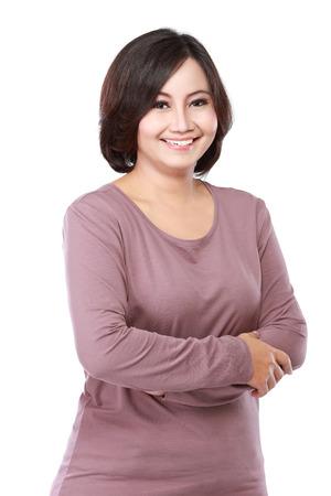portret toevallige vrouw van middelbare leeftijd te steken haar armen Stockfoto