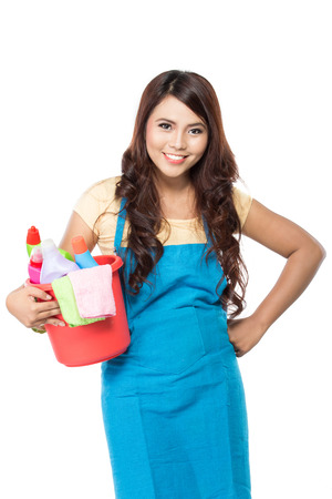 portrait of beautiful asian woman with many cleaning equipment