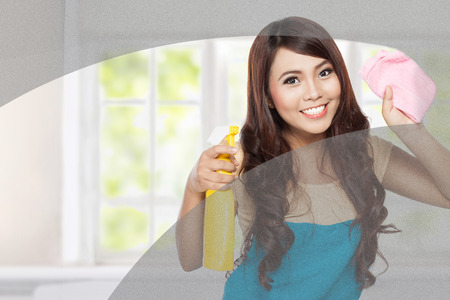 portrait of Attractive young woman cleaning windows in the house