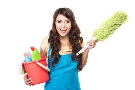 Domestic cleaning: portrait of beautiful asian woman with many cleaning equipment