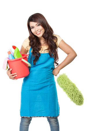 asian wife: portrait of beautiful asian woman with many cleaning equipment