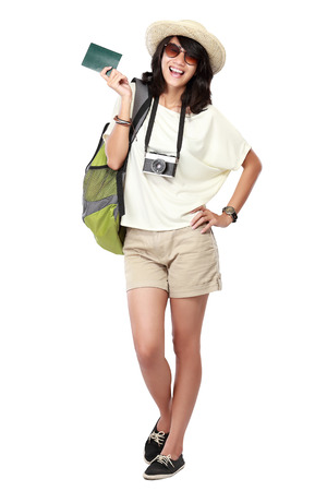 portrait of happy young girl bring backpack and pasport photo