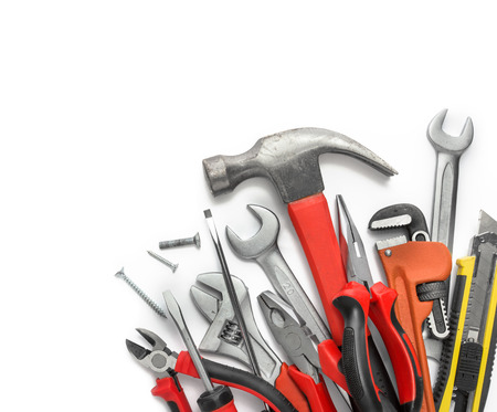 Many Tools isolated over white background with copy space