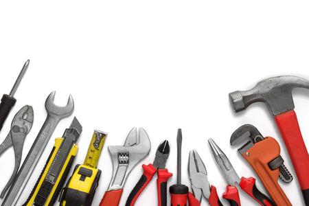 Veel tools geïsoleerd op een witte achtergrond met een kopie ruimte Stockfoto