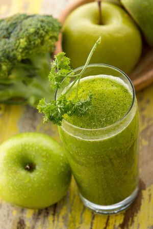 chlorophyll: Green smoothie with apples and broccoli, view from above