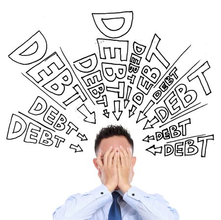 unpaid: concept of a businessman frustration of unpaid debt Stock Photo