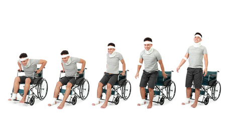 healing process: portrait of healing process of injured young man as evolutions Stock Photo