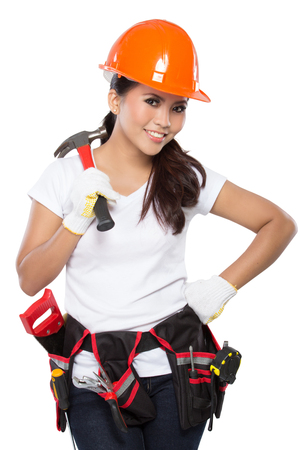 crescent wrench: portrait of young asian woman with hammer isolated over white background