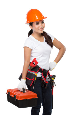 crescent wrench: portrait of young asian woman with tool box isolated over white background