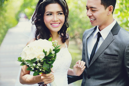portrait of joy of newlywed young couple