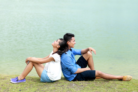 young happy couple: portrait of young couple feel relax on their vacation Stock Photo