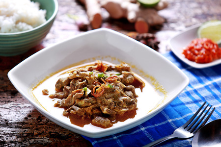 indonesian food: portrait of indonesian food gulai kambing served with rice