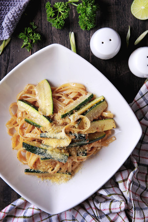 western food: main course of italian cuisine fettuccine zucchini Stock Photo