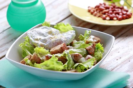 chicken salad: portrait of healthy mix salad for breakfast Stock Photo