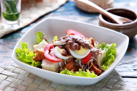 indonesian food: portrait of indonesian food gado gado ready to serve