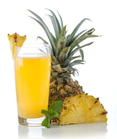 pineapple  glass: A potrait of a glass combination of pineapple and milk Stock Photo