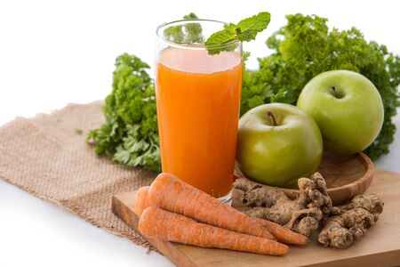 juice fresh vegetables: Smoothies mixing from apple and carrot