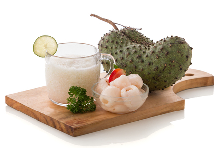 mix fruit: A potrait of a glass Lyhcees and soursop mix smoothie Stock Photo