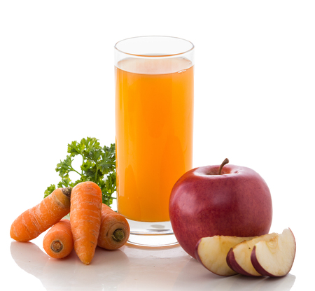 potrait: A potrait of a glass of Apple, Carrot and Red beans mix juice
