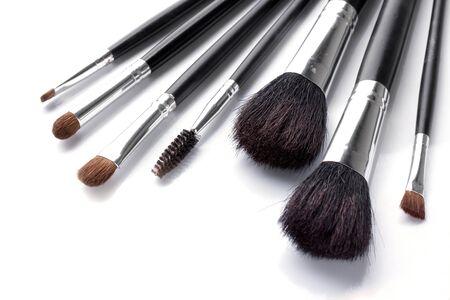 Make up brush set on white background photo