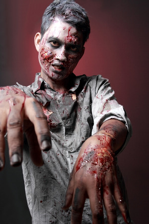deadman: Zombie standing  looking camera two hand close up scariied Stock Photo