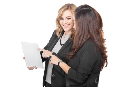 A portrait of a two young businesswoman wtih a clipboard, isolated photo
