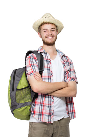 portrait of a tourist man isolated on white background photo